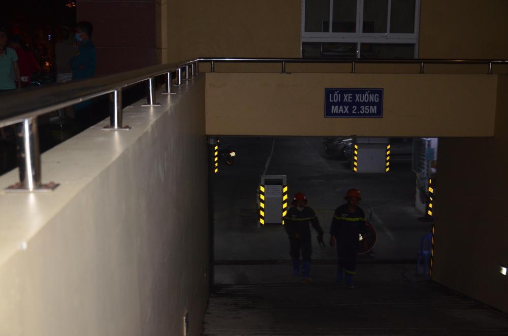 Khu vực tầng hầm để xe chung cư – nơi xảy ra vụ cháy.