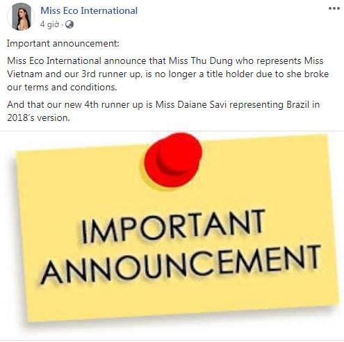 Thông báo thu hồi danh hiệu Á hậu Miss Eco International của Thư Dung.
