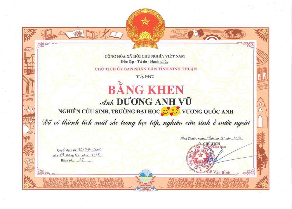 Bằng khen thành tích học tập, nghiên cứu ở nước ngoài của cố vấn Dương Anh Vũ