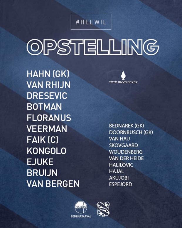 Đoàn Văn Hậu xuất hiện trên băng ghế dự bị trận đấu với Willem II.