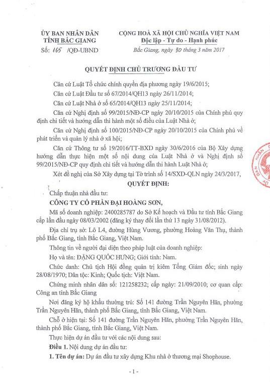 Quyết định 165/QĐ-UBND của UBND tỉnh Bắc Giang về chủ trương đầu tư dự án