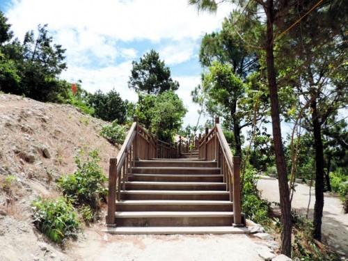 Đường vào và cầu thang gỗ dẫn lên mộ  Đại tướng. (Ảnh: tourconduongdisan.com)